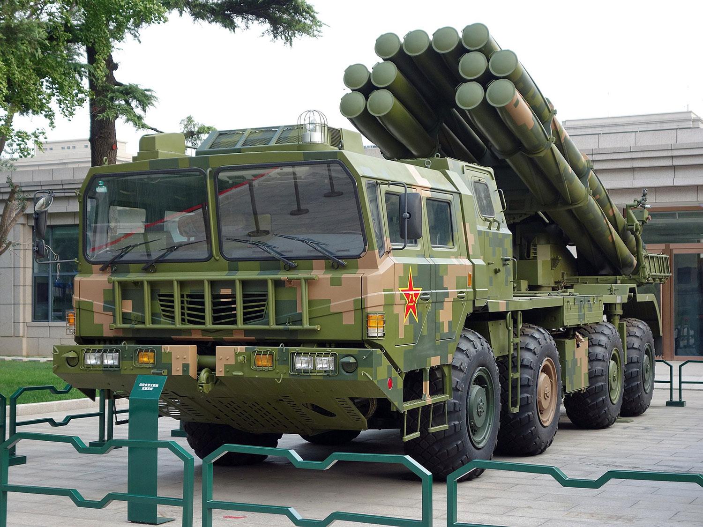 在中國人民革命軍事博物館紀念中國人民解放軍建軍90週年主題展覽展出的PHL-03 300毫米遠程多管火箭炮。(維基百科)