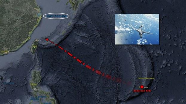 """追踪飞机动态的推特帐号""""飞机守望"""" 6月6日透露,美军驻关岛2架B-1B超音速战略轰炸机、KC-135加油机,飞向东海执行任务并掠过台湾东北海域。(file,图取自twitter.com/AircraftSpots)"""