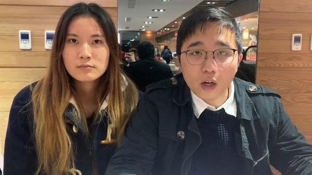 香港大专学界国际事务代表团陈颖茵(左)、梁耀霆(右)回应蔡英文谈话。(NGO工作者Nancy提供)