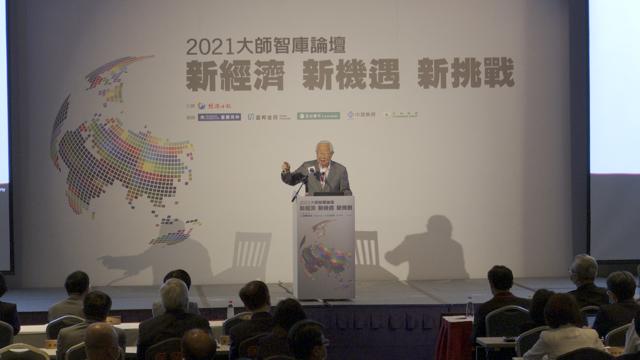 台积电创办人张忠谋在21日发表演说。(记者 李宗翰摄)