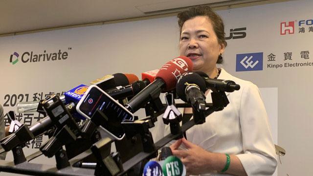 台湾经济部长王美花说明台湾水情。(RFA资料照)
