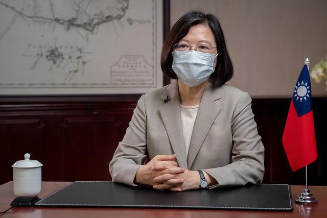 台湾总统蔡英文在总统府针对防疫发表谈话。(总统府提供)