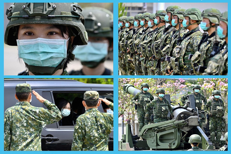 資料圖片:2020 年 4 月 9 日,臺灣總統蔡英文訪問臺南軍事基地。(法新社)