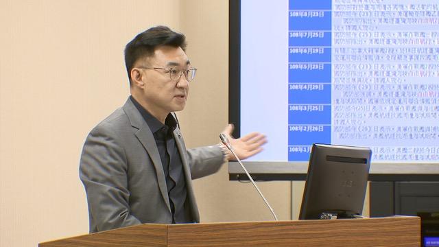 国民党立委江启臣认为台海周边美中战略有所改变。(记者 黄春梅摄)