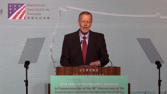美国在台协会台北办事处长郦英杰称解放军机绕台,只是挑衅的例证。(记者 李宗翰摄)