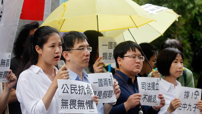 2019年4月24日,台湾民众声援占中九子。(美联社)