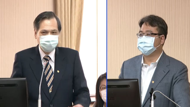 陆委会主委陈明通(图左)备询指两岸对话基础不该放在各说各话情况。(截图自立法院直播)
