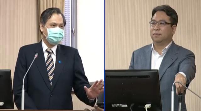 """陆委会主委陈明通(左)答询指台湾可援引""""港澳条例""""18条,因政治受迫害的港人。(记者 黄春梅摄)"""