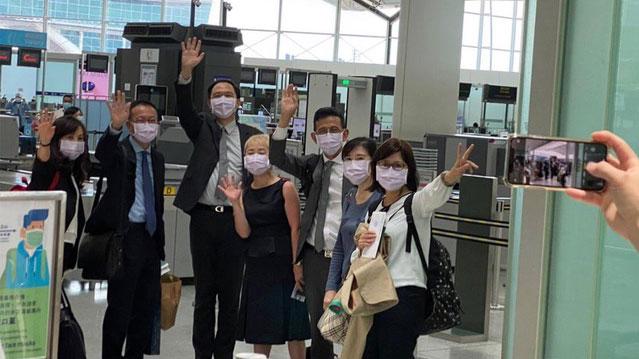 台湾驻香港办事处七名官员20日离港返台。(台湾陆委会提供)