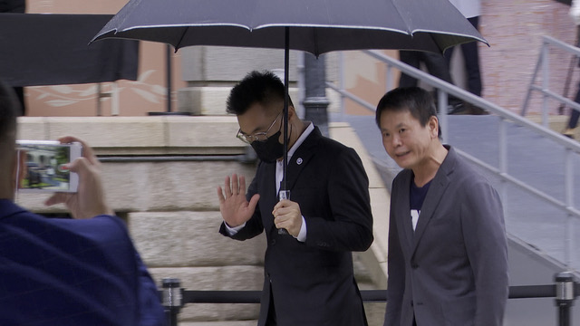 国民党主席江启臣向李登辉致意却推辞发言。(记者 李宗翰摄)
