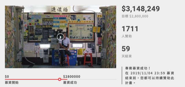 香港铜锣湾书店重启一天募集台币280万。(截图自FlyingV网站)