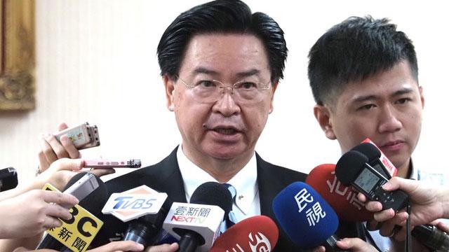 在台湾的外交部长吴钊燮称台美关系40年最好。(记者 黄春梅摄)