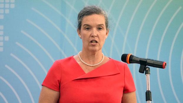 美国国务院亚太局主管澳纽暨太平洋事务副助卿孙晓雅(Sandra Oudkirk)称代表特朗普以及蓬佩奥而来。(记者 黄春梅摄)