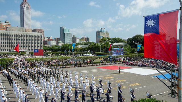 总统府前举办双十典礼庆祝活动。(总统府提供)