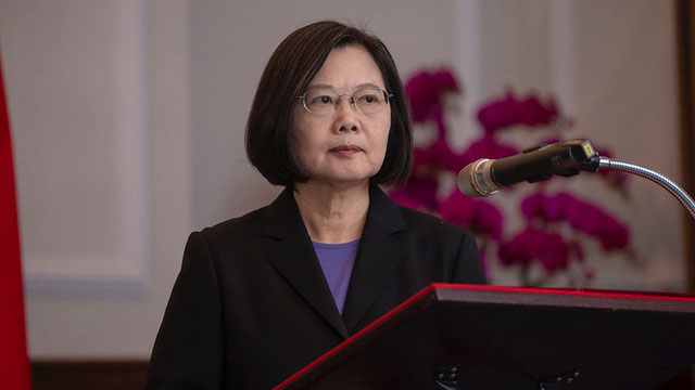 2019年10月16日,蔡英文在总统府接见AIT主席莫健并发表谈话。(总统府提供)