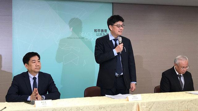 2019年10月22日傍晚,陆委会与法务部、内政部联合召开记者会。(记者 黄春梅摄)