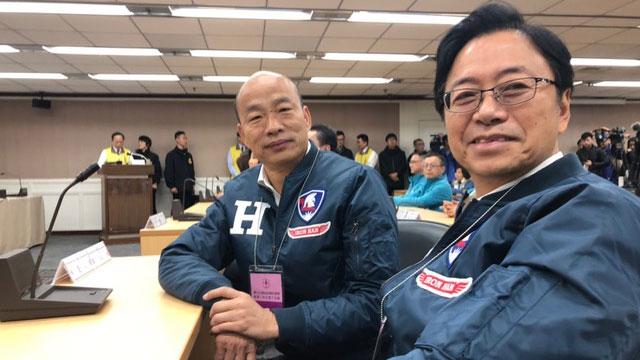 韩国瑜、张善政连袂赴中选会抽签。(韩国瑜竞选办公室提供)