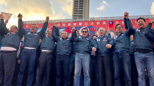 韩国瑜8日在新北市大造势,国民党要角都来站台。(韩国瑜竞选办公室提供)