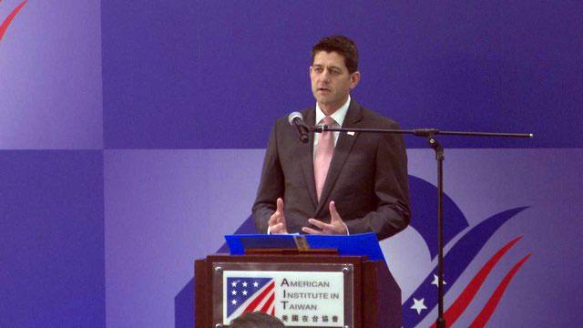 美国众议院前议长保罗莱恩担任美国祝贺团团长。(记者 李宗翰拍摄)