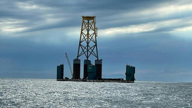 中国在马祖东莒外海兴建离岸发电风机。(截图自马祖资讯网)