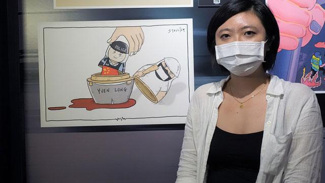 """台湾政治漫画家Stellina Chen创作""""港版俄罗斯娃娃""""。(记者 黄春梅摄)"""