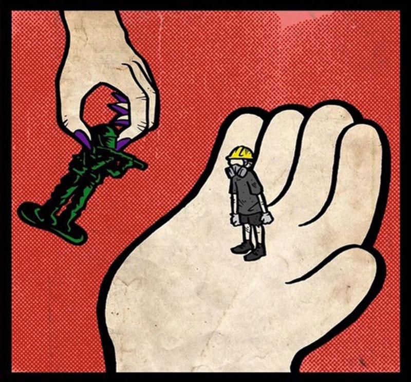 """台湾漫画家李翰创作""""你手上的不过是颗棋子""""。(台湾漫画基地提供)"""