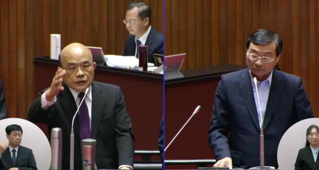 国民党立委曾铭宗质询台湾行政院长苏贞昌。(立法院直播截图)