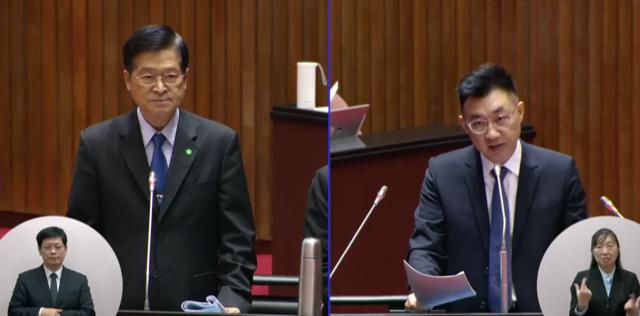 国民党立委江启臣质询台湾国防部长严德发。(立法院直播截图)