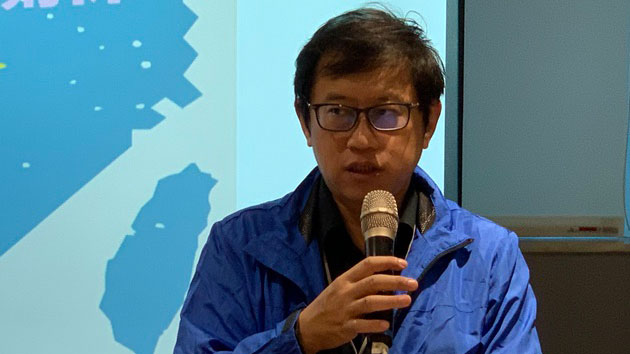 台湾民主实验室研究员宋承恩称国民党揣摩北京上意。(记者 黄春梅摄)