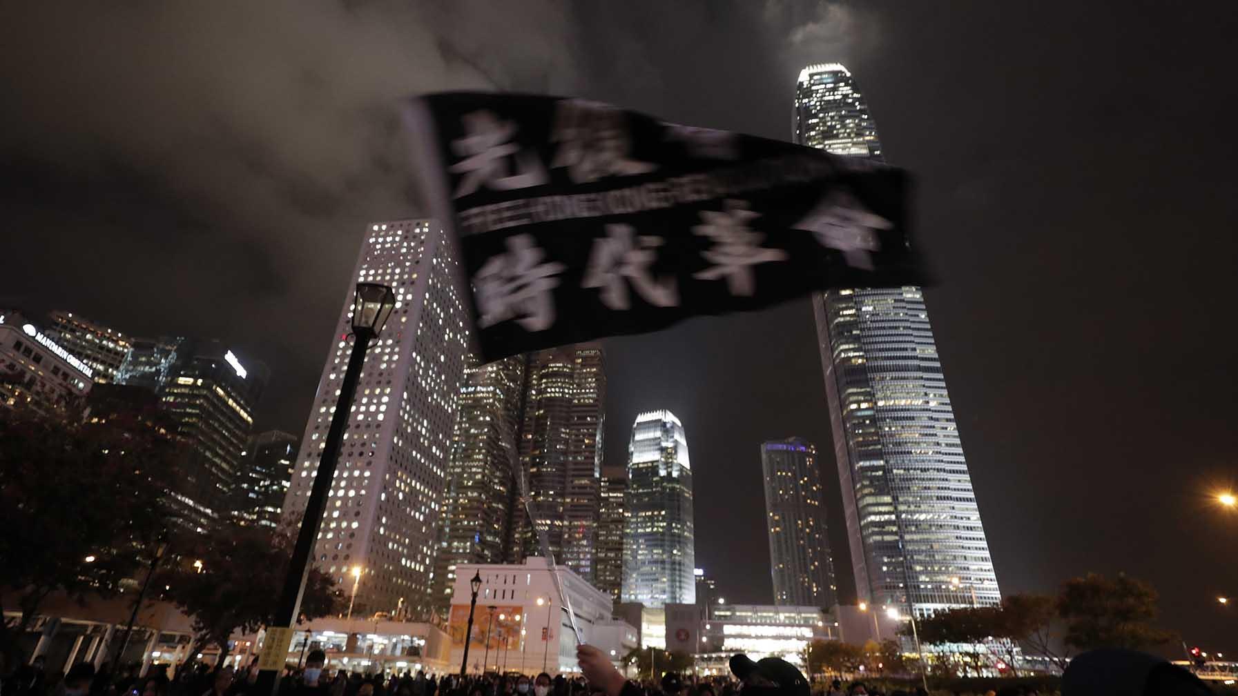 2019年12月23日,香港抗议者的现场情况。(美联社)