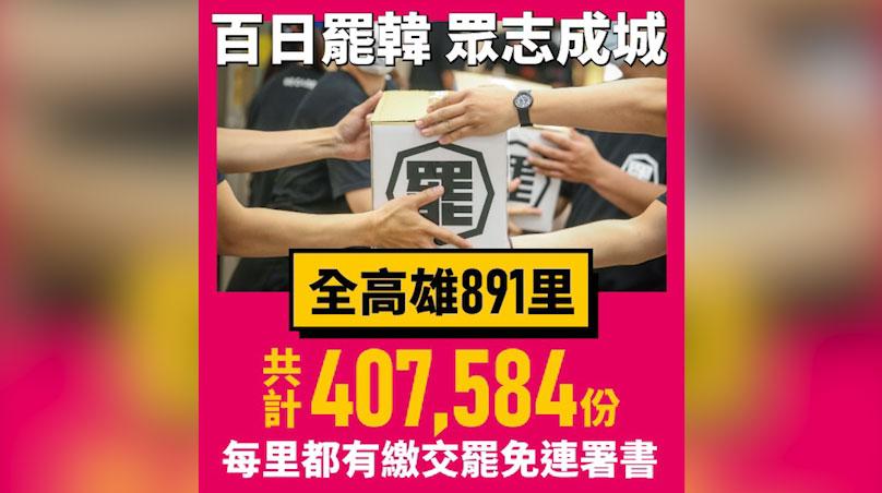 罢韩团体3月9日送出40万份连署书,盼六月选举成功罢免韩国瑜。(Wecare高雄提供)