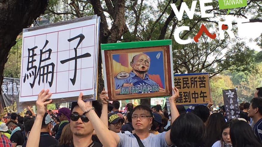 罢韩团体去年12月21号召50万人上街游行支持罢韩案。(Wecare高雄提供)
