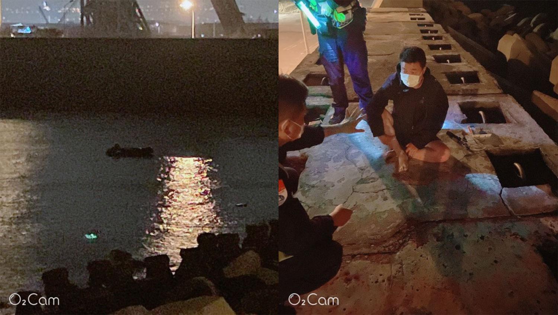 中国大陆周姓男子自称驾驶动力橡皮艇越过台湾海峡航行要投奔自由,在台湾台中港偷渡上岸。(民众林学贤提供)