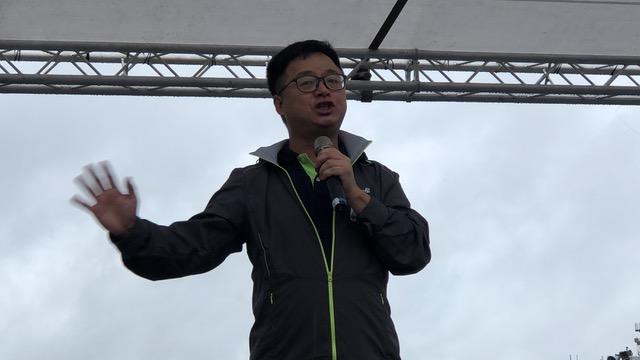 """民进党秘书长罗文嘉出席""""反红色媒体""""集会致词。(记者夏小华摄)"""