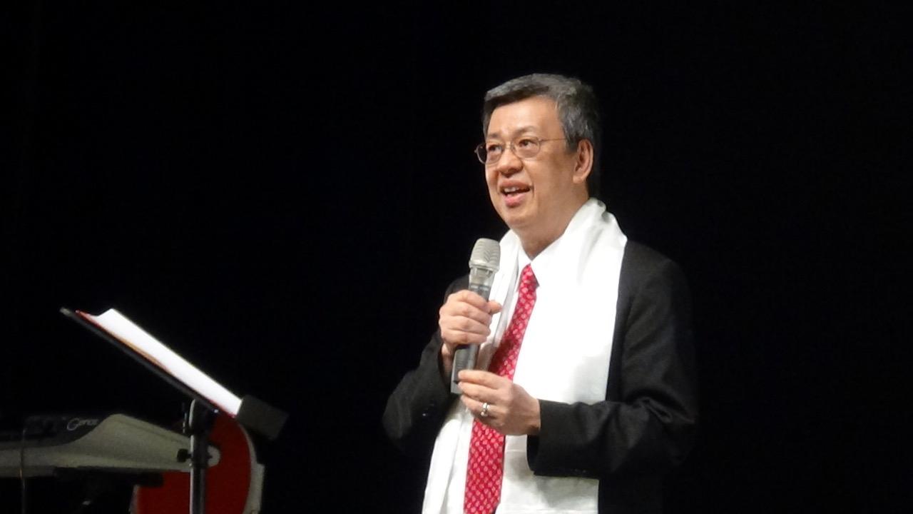 台湾的副总统陈建仁出席佛教徒为西藏精神领袖达赖喇嘛举办的祝寿会。(记者夏小华摄)