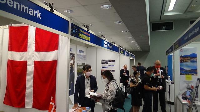 欧盟十五个会员国驻台办事处参与投资欧盟展。(记者夏小华摄)