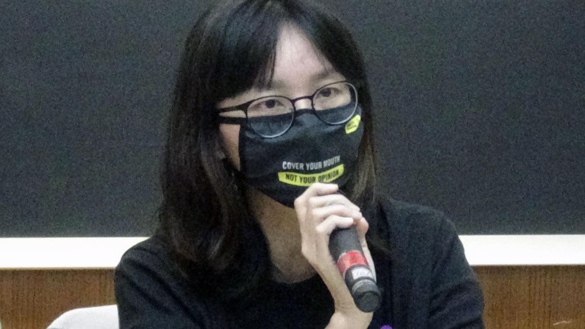 国际特赦组织台湾分会秘书长邱伊翎。(记者夏小华摄)