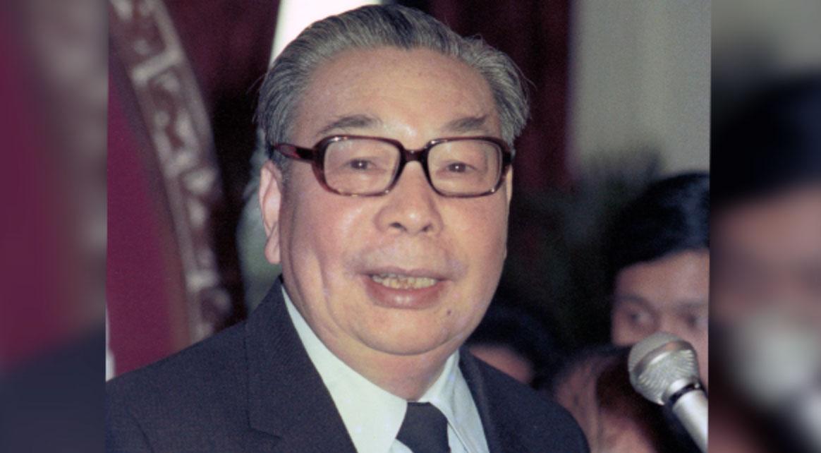 蒋经国在1978年1月31日农历新年前的一次聚会上向媒体致辞(AP)