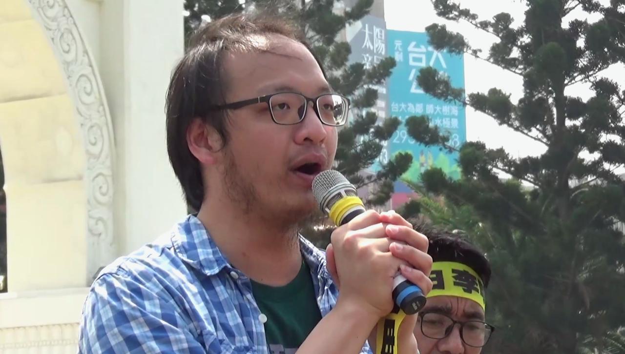 台湾永社副秘书长洪崇晏声援李明哲。(记者李宗翰摄)