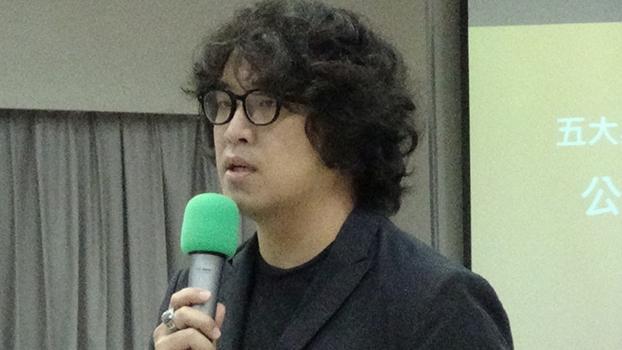 台湾人权促进会执行委员沈伯洋呼吁严防中国大陆对台资讯战。(记者夏小华摄)
