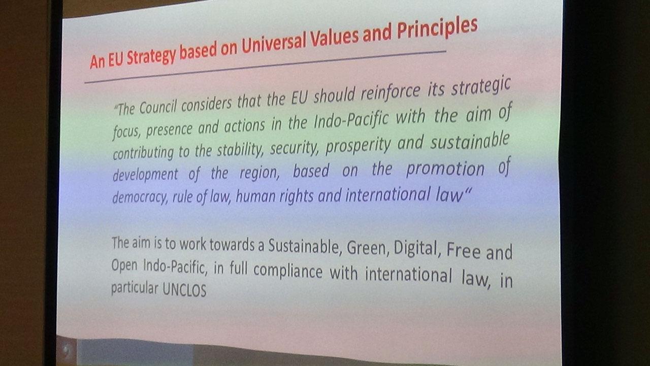 """欧盟理事会批准""""印太地区合作战略""""。(记者夏小华摄)"""