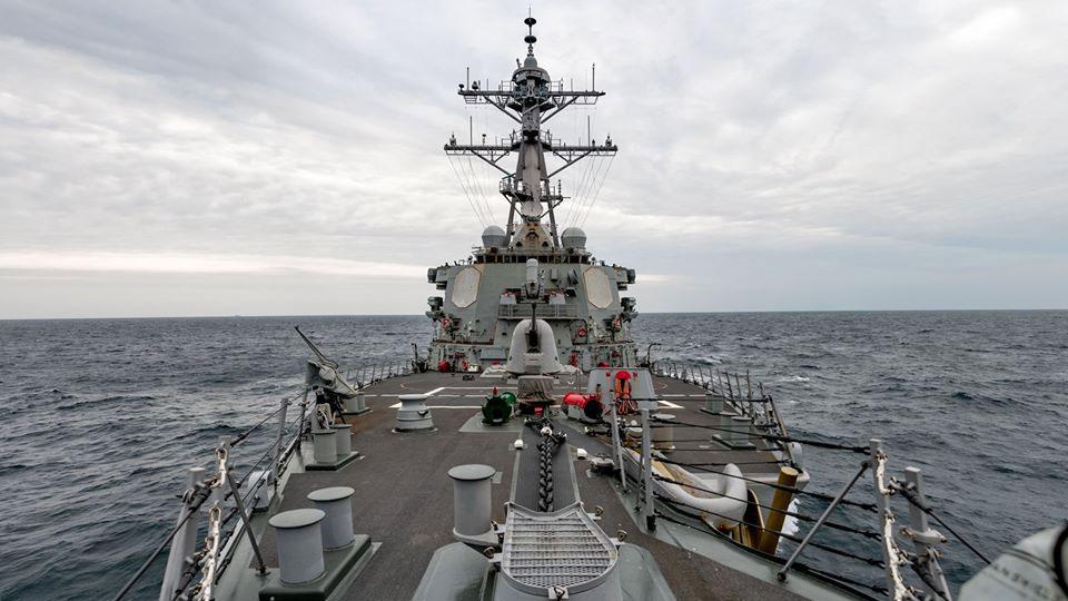 美鑑貝瑞號繼4月10日後,再度航經臺灣海峽。(圖/翻攝自U.S. Pacific Fleet臉書)