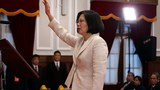 图说:蔡英文在总统府宣誓就职,台湾首位女领导人。(总统府提供)