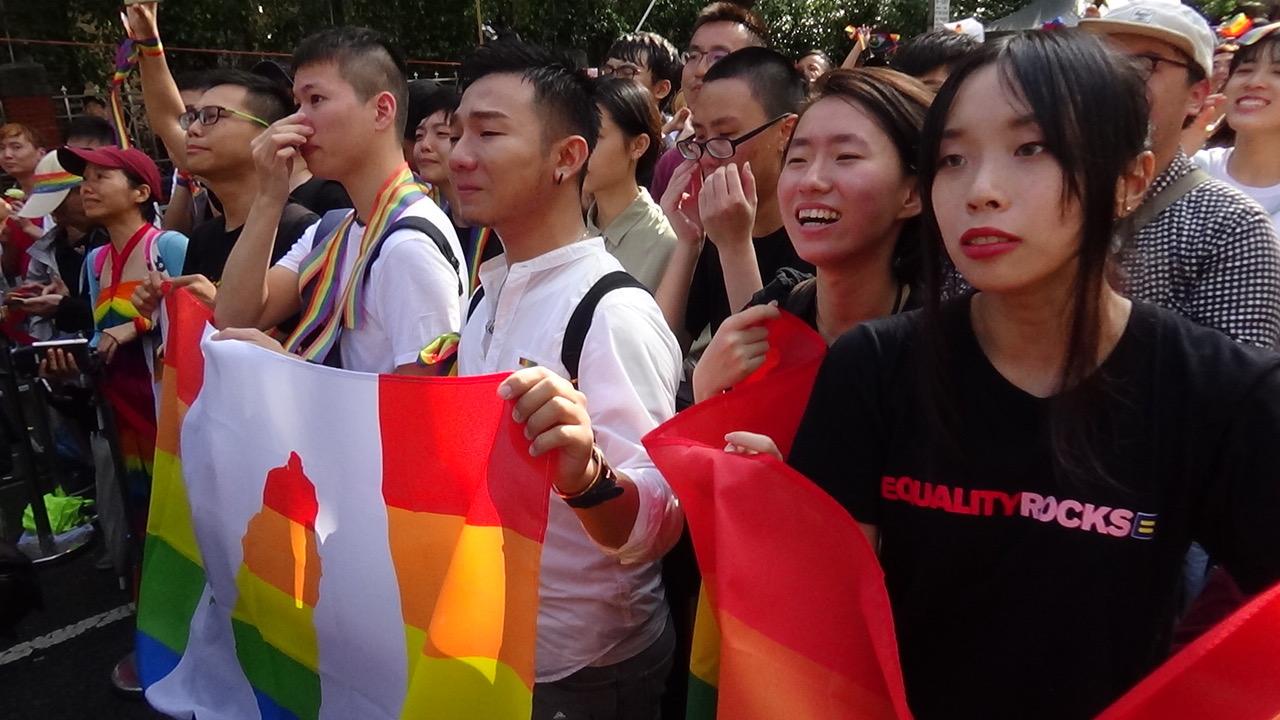 台湾同志挺身争权益。(记者夏小华摄)