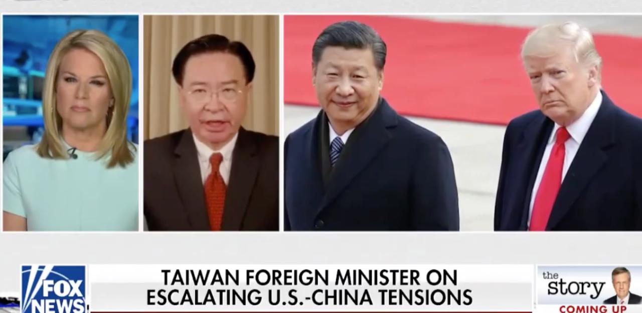 """台湾外交部长吴钊燮26日接受美国福斯新闻(Fox News)主播玛莎麦卡勒姆(Martha MacCallum)视讯访问,谈北京推动制定""""港版国安法""""。(图取自facebook.com/TaiwanInNewYork)"""
