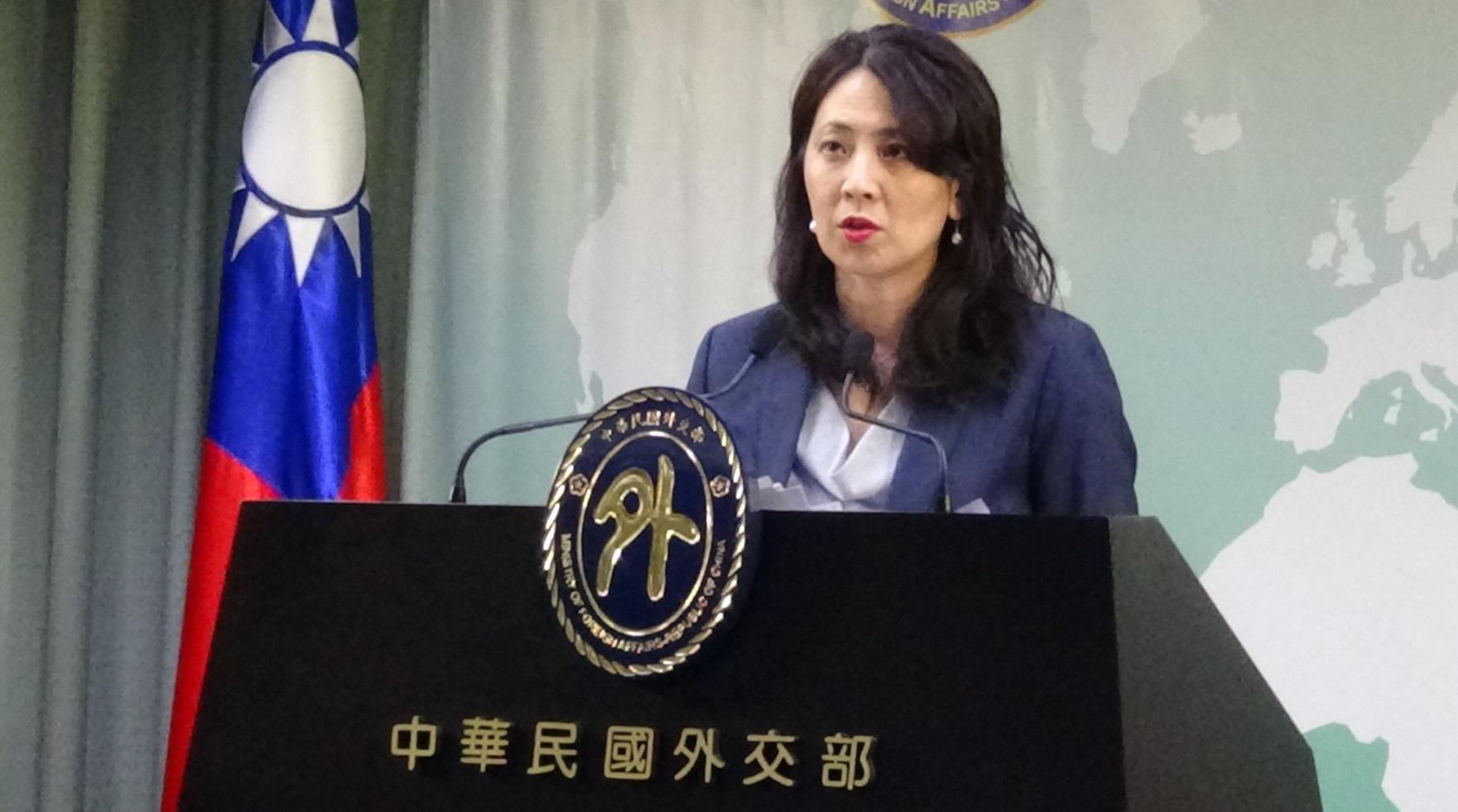 外交部副发言人欧江安回应美舰今年第六次航经台海。(记者夏小华摄)