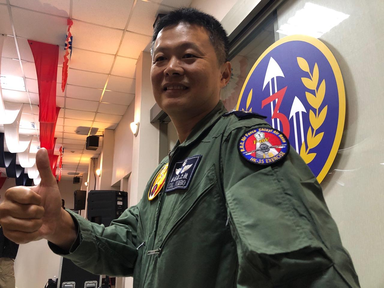 2019年5月28日,F-16V任务领队上校队长林猷翔。(记者夏小华摄)