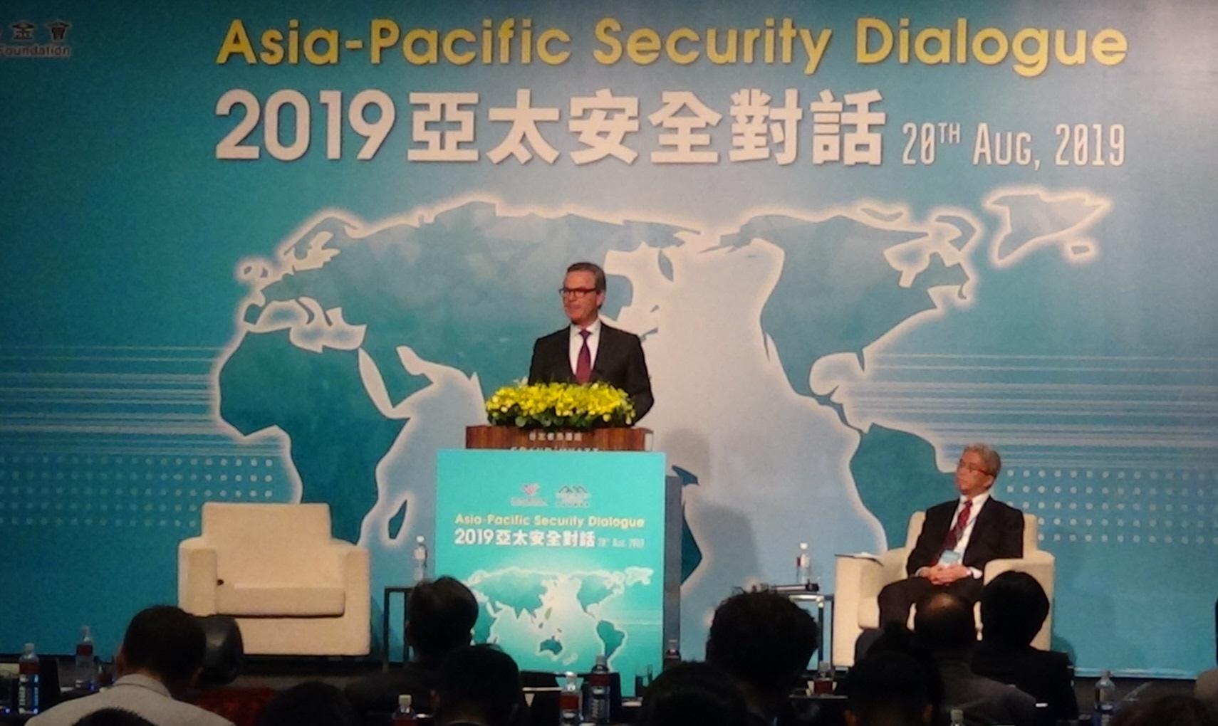 """前澳大利亚国防部长派恩出席台北的""""2019亚太安全对话""""。(记者夏小华摄)"""