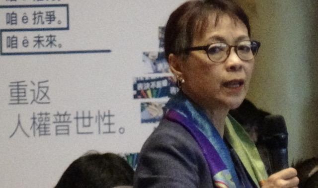 """""""中国人权""""执行长谭竞嫦指出,中国共产党在世界营造一种说法:""""批评中国就是反中国"""",她认为,这是带头消解人权。(记者夏小华摄)"""