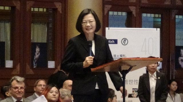 总统蔡英文出席首次在台北举行的2019国际人权联盟年会。(记者夏小华摄)